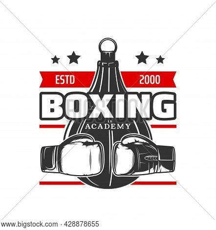 Boxing Sport Icon. Vector Boxer Gloves And Punching Bag, Red Ribbon Banner And Stars. Boxing Sport F
