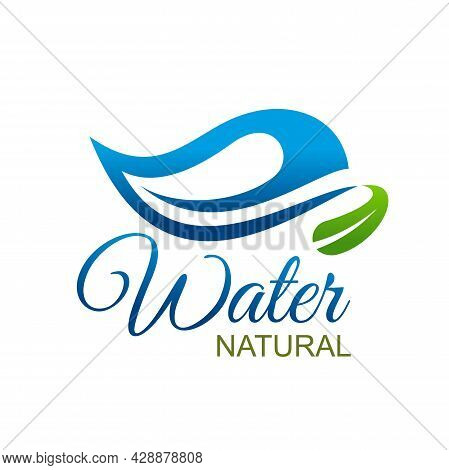 Natural Or Mineral Water Drink Icon, Vector Aqua Product Symbol. Natural Mineral Water Icon With Blu