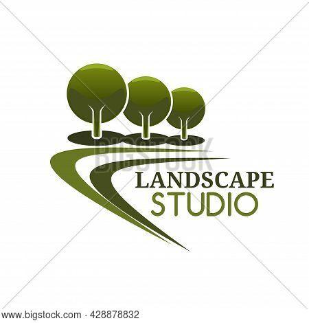 Landscape Design Service Icon, Gardens Landscaping Service Vector Symbol. Landscape Trees And Park M