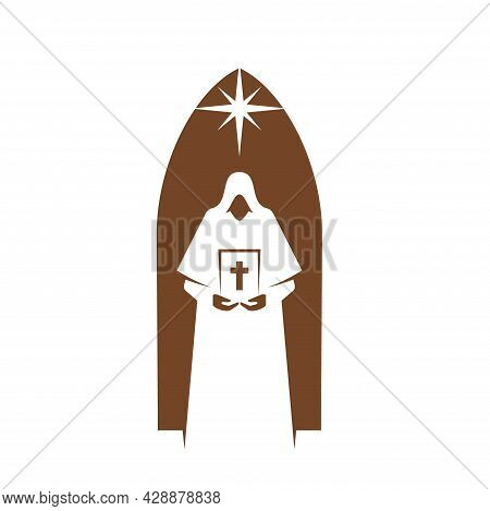 Christianity Religion Icon Of Priest With Bible, Vector Religious Emblem. Christian Church, Catholic