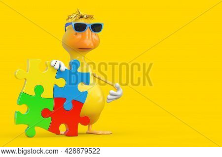Cute Yellow Cartoon Duck Person Character Mascot With Four Pieces Of Colorful Jigsaw Puzzle On A Yel