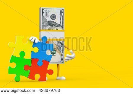 Stack Of One Hundred Dollar Bills Person Character Mascot With Four Pieces Of Colorful Jigsaw Puzzle