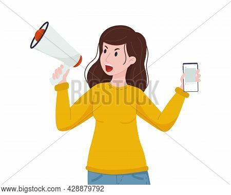 Ugc Concept. Angry Woman Speaks Into A Megaphone With A Phone In Her Hands. Content Creation, Review