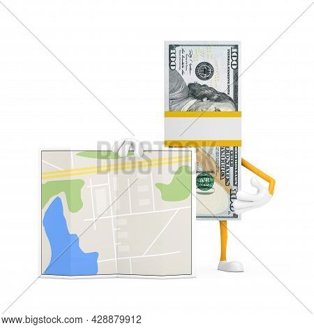 Stack Of One Hundred Dollar Bills Person Character Mascot With Abstract City Plan Map On A White Bac