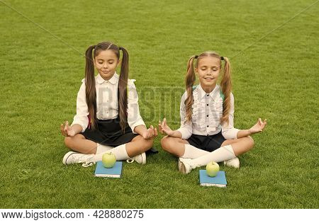 Powerful Yet Peaceful. Little Children Do Meditation On Green Grass. Small Girls Sit In Mudra Positi