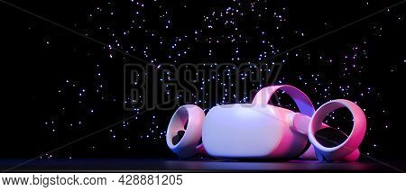 Vr Headset And Controllers On Shining Stars, Dark Galaxy Space Background, Neon Light
