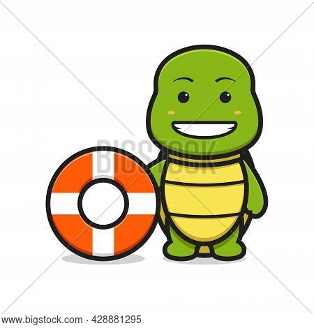 Cute Turtle Mascot Character Wear Swimming Buoy Cartoon Vector Icon Illustration. Design Isolated On