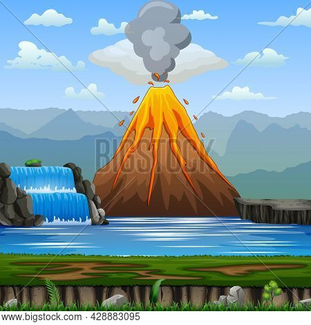 Volcano Eruption In A Nature Scene Illustration