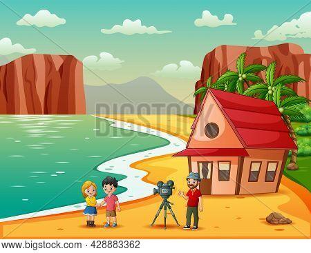 A Cameraman Making Shooting Movie At The Beach Illustration