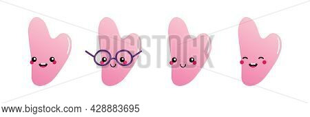 Set, Collection Of Cute Smiling Cartoon Style Pink Stone, Rose Quartz Gua Sha Beauty Tool Characters