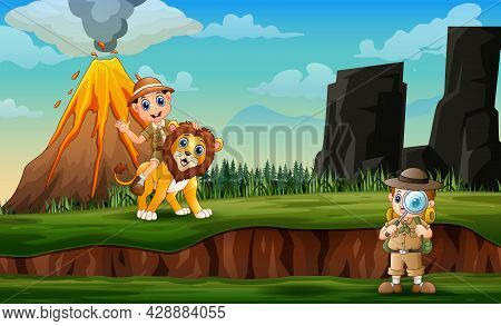 Cartoon Of Zookeepers And Lion With Volcano Eruption Landscape