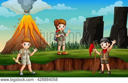 Three Of Scouts Are Exploring At The Green Hill Illustration