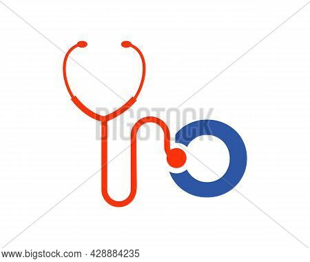 Health Care Logo With O Letter Concept. Stethoscope Logo O Letter Concept. Phonendoscope Logotype
