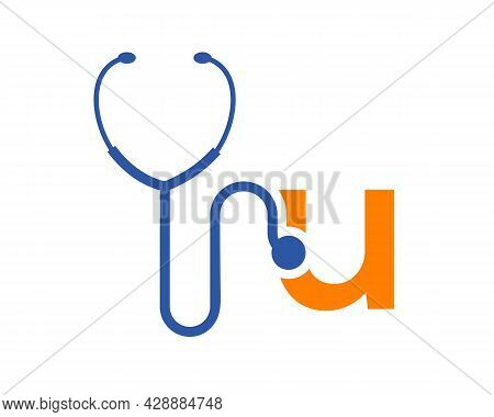 Health Care Logo With U Letter Concept. Stethoscope Logo U Letter Concept. Phonendoscope Logotype