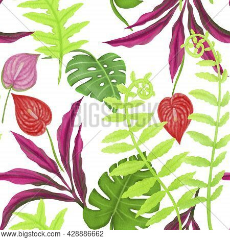 Illustration Of Tropical Plant Leaves Drawing Green, Monstera, Fern Leaf And Flower Drawing Seamless