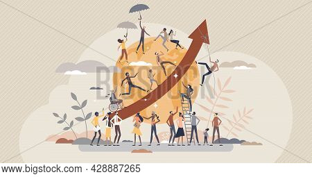 Overpopulation And Human Crowd Density Growth On Earth Tiny Person Concept. People Count Development