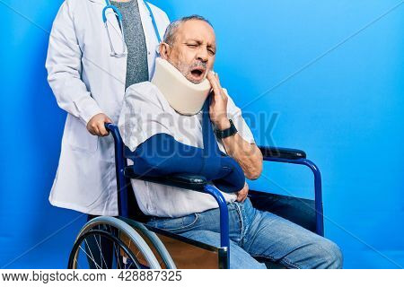 Handsome senior man with beard sitting on wheelchair with neck collar touching mouth with hand with painful expression because of toothache or dental illness on teeth. dentist concept.