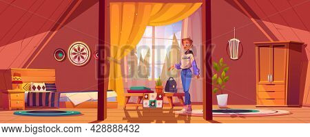 Girl In Bedroom In Boho Style On Attic With Mountains And Trees Behind Window. Vector Cartoon Mansar