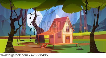 Wooden House In Jungle With Mountains. Vector Cartoon Summer Landscape Of Rain Forest With Wood Cott