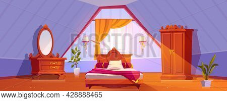 Attic Bedroom Or Guest Room Interior In Vintage Style. Mansard With Uncovered Bed, Wardrobe, Dressin