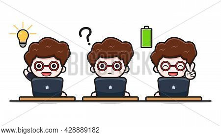 Cute Successful Businessman Working Wit Laptop Cartoon Vector Icon Illustration. Design Isolated On