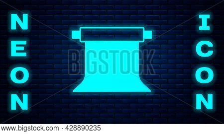 Glowing Neon Empty Photo Studio Icon Isolated On Brick Wall Background. Screen Backdrop. Vector