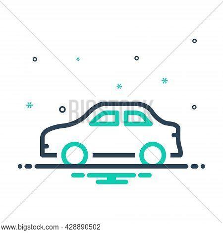 Mix Icon For Car Conveyance Carriage Transportation Transit Automotive Vehicle Automobile