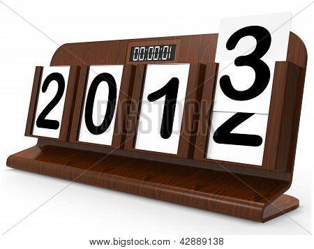 Desk Calendar Represents Year Two Thousand Thirteen