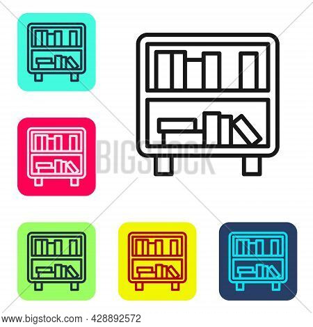 Black Line Shelf With Books Icon Isolated On White Background. Shelves Sign. Set Icons In Color Squa
