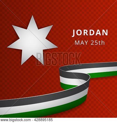 Happy Jordan Independence Day Celebration Poster. White Seven-pointed Star On Red Background. Jordan