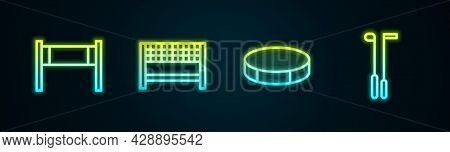 Set Line Volleyball Net, Ribbon In Finishing Line, Hockey Puck And Golf Club. Glowing Neon Icon. Vec