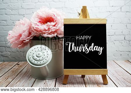 Happy Thursday Typography Text On Easel Wooden Board