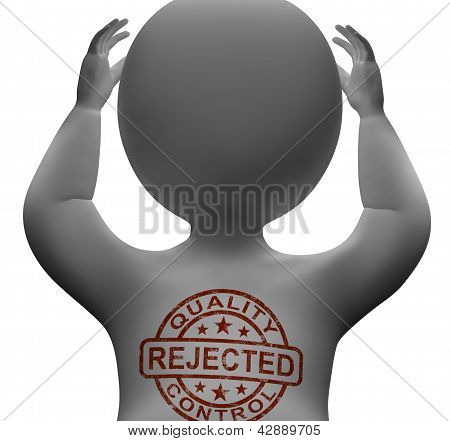 Rejected Stamp On Man Showing Failed Products