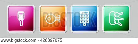 Set Line Car Key With Remote, Key, Password Protection And Bunch Of Keys. Colorful Square Button. Ve