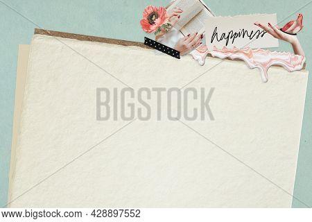 Floral feminine collage design resource