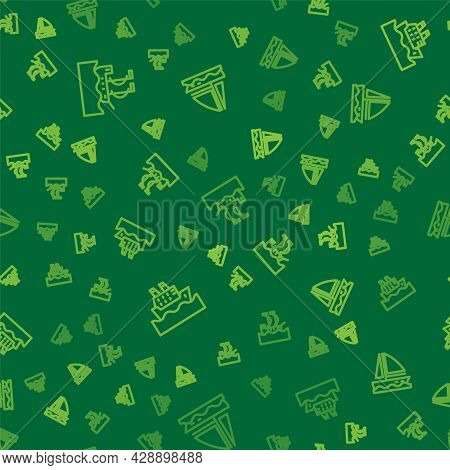 Set Line Sailboat, Cruise Ship And Yacht Sailboat On Seamless Pattern. Vector