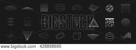 Set Of Retrofuturistic Design Elements. Collection Of Grids, Cubes, Perspectives, Striped Shapes, Ci