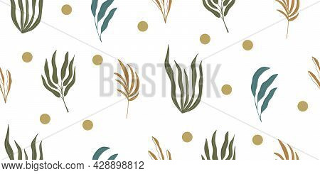 Seamless Pattern Background With Abstract Hand Drawn Plant Silhouette, Dots On White. Tropical Folia