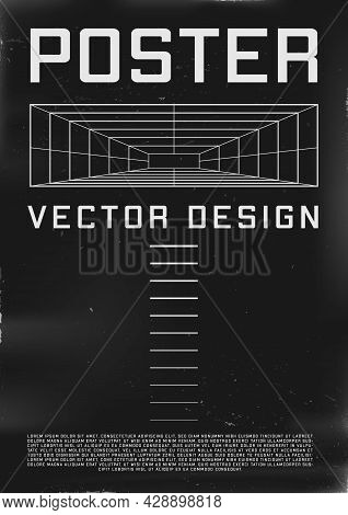Retrofuturistic Poster Design With Perspective Tunnel. Cyberpunk 80s Style Poster With Perspective R