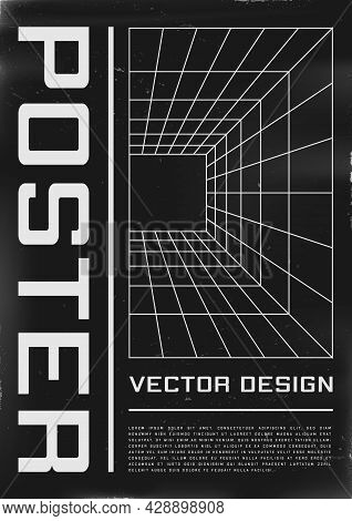 Retrofuturistic Poster Design With Perspective Grid Tunnel. Cyberpunk 80s Style Poster With Perspect