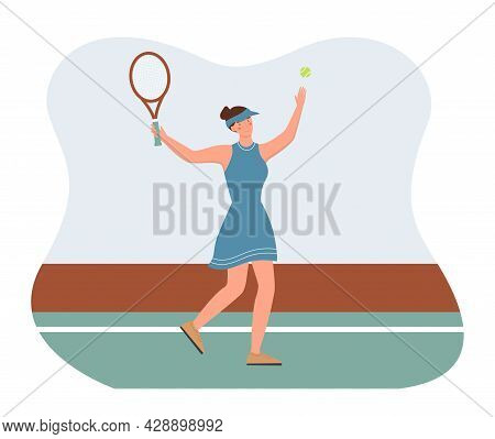Girl Is Playing Tennis. The Woman Holds A Racket In Her Hands, Throws The Ball And Swings. A Smooth
