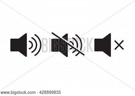 Sound Volume And Mute Set Icon Silent Sound Off Symbol For Your Web Design, Logo, Ui. Illustration