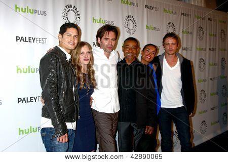 LOS ANGELES - MAR 2:  JD Pardo, Tracy Spiridakos, Billy Burke, Giancarlo Esposito, Daniella Alonso and David Lyons arrive at the