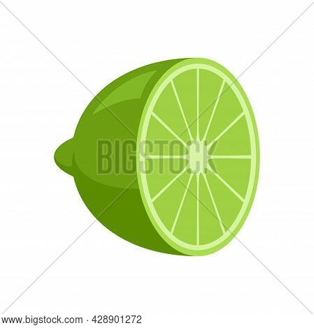 Half Lime Icon. Flat Illustration Of Half Lime Vector Icon Isolated On White Background