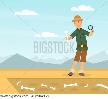 Man Archaeologist With Magnifying Glass Examining Bone As Past Material Remains Vector Illustration