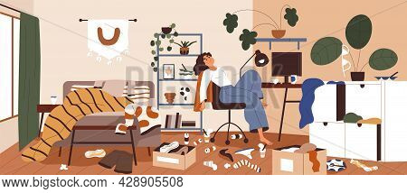 Lazy Woman In Messy And Dirty Room. Sluggish Person With Mess, Litter And Scattered Stuff Around. Di