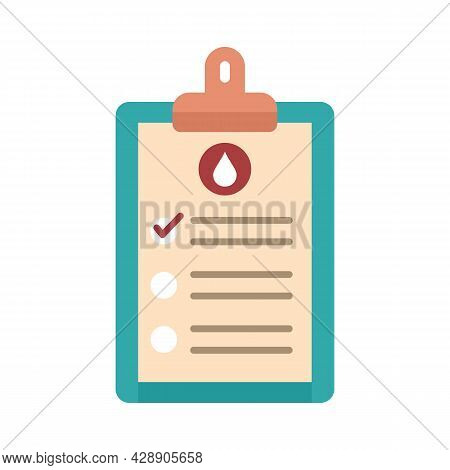 Medical Blood Results Icon. Flat Illustration Of Medical Blood Results Vector Icon Isolated On White