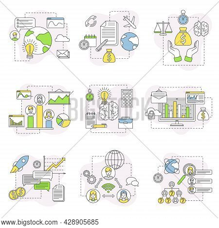 Business And Start-up Development With Chart And Analytics Line Vector Composition Set