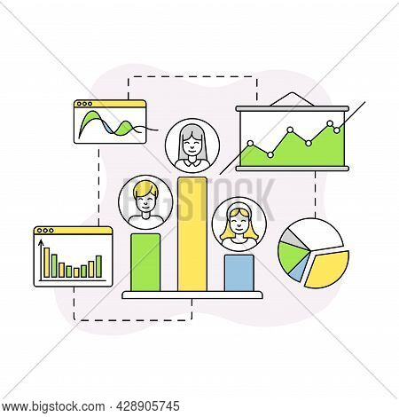 Business And Start-up Development With Profit Chart And Growth Graph Vector Line Composition