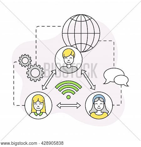 Business And Start-up Development With Global Network Communication Vector Line Composition
